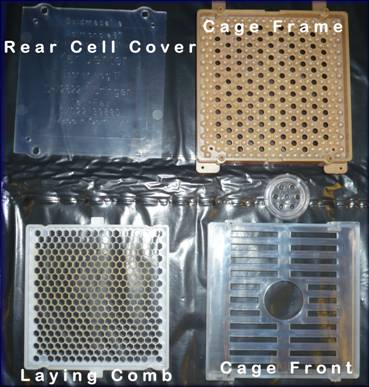 Rear cell cover, Cage frame, Laying comb and Cage front